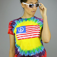 Forever Strung Tie Dye Peace FlagRainbow : Karmaloop.com - Global Concrete Culture