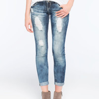 Almost Famous 2 Button Destructed Womens Skinny Jeans Medium Blast  In Sizes