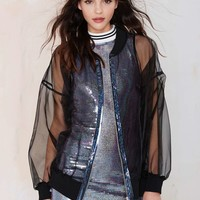 Ragged Priest Sheer Force Chiffon Bomber Jacket