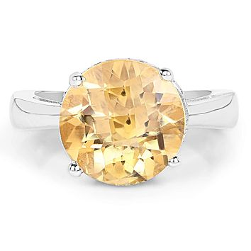 A Natural 5.56CT Round Cut Yellow Citrine Solitaire Ring