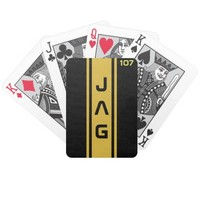 Gold and Black Racing Stripes Playing Cards