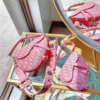Dior Saddle Bag Campagin Small Fresh Mature Sexy Handbag Bag Shoulder Bag Pink