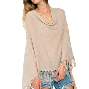 Cashmere fringe ruana poncho in French taupe
