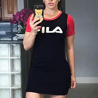 FILA Summer Fashion Women Sexy Print Short Sleeve Dress Red
