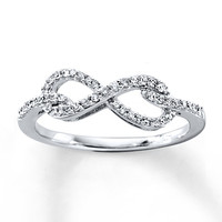 Diamond Infinity Ring 1/5 ct tw Round-cut 10K White Gold