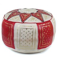 Red / Beige Fez Moroccan Leather Pouf Round Genuine Leather