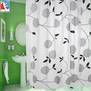 Feiqiong Brand 180X180CM Eco-Friendly PEVA Bathroom Shower Curtains Waterproof Bath Curtain Leaves Pattern With 12Pcs Hooks