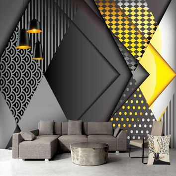 home improvement 3d wall paper rolls waterproof silk wallpaper for walls 3d murals background Minimalist minimalist geometry