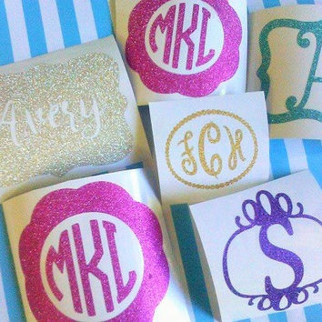 Glitter Decal, Monogram Decal, Decal for RTIC Cup, Glitter Monogram