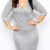Gray V-Neck Plus Size Midi Dress