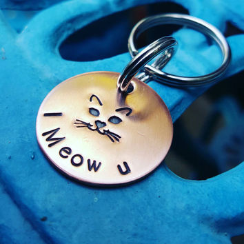 Cat face Keychain, I Meow U, Catlover Keychain, Cat face, Cat lover gift, Copper Keychain, Cat keychain