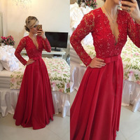 Long Sleeve 2016 A Line Evening Dresses Sexy V Neck Sheer Back Lace Party Prom Gowns Custom Made