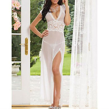 Women's Mesh and Lace V Neck Lingerie Gown
