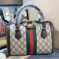 GUCCI New fashion stripe more letter leather pillow shape shoulder bag crossbody bag