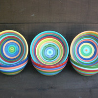 Set of 6 - Colorful Rainbow Striped Ceramic Cereal, Soup or Ice Cream Bowls
