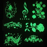 1pc new Green/Blue Glow in the dark flash Tattoos Stickers Peacock Fox Music Flowers fake fluorescent girls for party Halloween