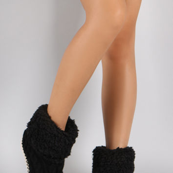 Shearling Cuff Cable Knit Sock Slippers