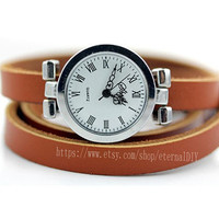 Much circle leather wrapped watches, restore ancient ways Roman silver karma watches, ladies watches