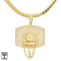 """Jewelry Kay style Gold Plated Basketball & Hoop Pendant 24"""" Miami Cuban Chain Necklace BCH 13113 G"""