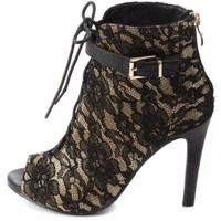 Satin & Lace Lace-Up Booties by Charlotte Russe - Black Multi