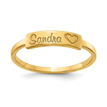14K Yellow Gold Personalized Name Bar Ring