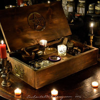 Witches Apothecary Trunk - Altar Table - Secret Compartment Spell Box - Apothecary Chest - Spell Casters Trunk