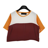 Color Blocked Cropped T-shirt