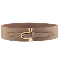 Stretch Detail Faux Leather Wide Waist Belt