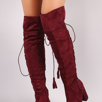 Suede Back Tassel Corset Lace Up Chunky Heeled Over-The-Knee Boots
