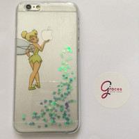 Tinkerbell (peter pan) iPhone 6+, 6, 5s, 5c, 5, 4s, 4 phone case Sparkly Disney inspired hard resin glitter case
