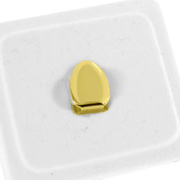 Hip Hop Single Tooth Mouth Grillz Cap 14K Yellow Gold Finish Rapper Wear Mens