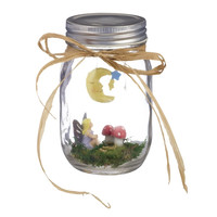Fairy Garden in an Illuminated Mason Jar (Moon and Stars)