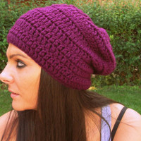 Burgundy crochet hat,burgundy slouchy beanie,woman hat,man hat,winter hat,woman accessories,