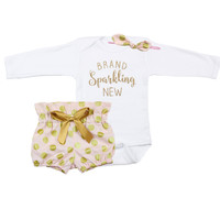 Baby Newborn take home outfit | Pink & Gold Brand Sparkling New Outfit | Gold Polka Dot High Waisted Bloomers and Knotted Headband