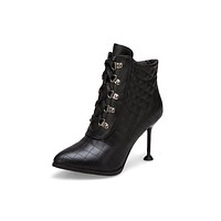 Pointed Toe Lace Up High Heel Motorcycle Boots 2534