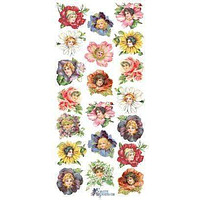 Flower Petal Ladies Victorian Floral 2 Sheets of Stickers