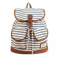 MapleClan OUTDOOR Preppy Strip Canvas Travel Bag/Backpack Blue