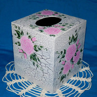 Elegant Tissue Box Cover Decorative Hand Painted Roses Wood Boutique Tissue Holder Victorian White Crackle Shabby Chic Housewarming Gift
