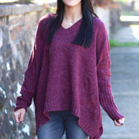 Oversized, Distressed Hooded Sweater {Burgundy}