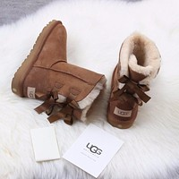 Ugg 1016225 Ribbon Bow Maroon Classic Bailey Bow II Boot Snow Boots