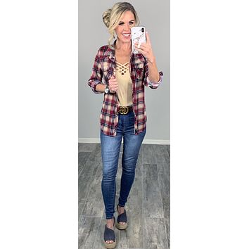 Penny Plaid Flannel Top - Burgundy/Ivory