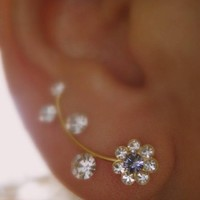 Ear Sweep Wrap - Cuff Earring with Swarovsky -Gold Filled- Daisy Lilac