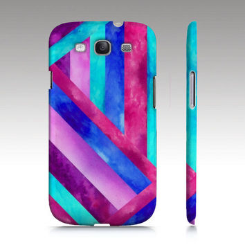 Samsung Galaxy S3 case, color-block stripe in watercolor, aqua pink purple painting art for your phone