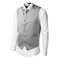 Mens Tailored Button Down Vest with Stretch