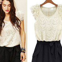 Floral Lace Tiered Sleeve Bow Knot Romper
