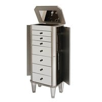 Mirrored Jewelry Armoire with Silver Wood Finish