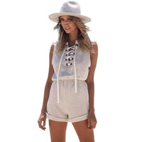 GJ85 Womens Vintage Grey Marled Lace Up Rompers Sleeveless Cotton Casual Jumpsuits Playsuits