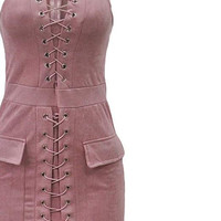 Pink Faux Suede Lace Up Dress