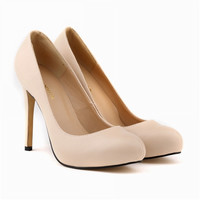 Womens Pumps Round Toe Matte PU Leather Sexy High Heels Shoes Platform Nude Work Pumps Ladies Court Shoes US4-11 806-2MA