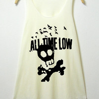 All time low, women tank top, off white shirt, sleeveless shirt, screenprint tunic, clothing tshirt, lady shirt, S/M , L/XL size